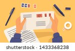 hands holding envelope with... | Shutterstock .eps vector #1433368238