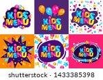cute kids meal menu vector... | Shutterstock .eps vector #1433385398