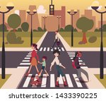 cartoon people crossing the... | Shutterstock .eps vector #1433390225