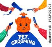 pet grooming concept. happy lap ...   Shutterstock .eps vector #1433401505