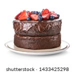 Tasty Chocolate Cake On White...