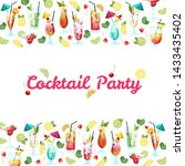 invitation card with tropical... | Shutterstock .eps vector #1433435402