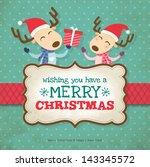 two little reindeers christmas... | Shutterstock .eps vector #143345572