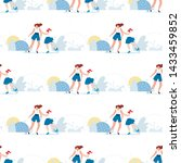seamless pattern with happy...   Shutterstock .eps vector #1433459852