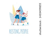 resting people text and happy...   Shutterstock .eps vector #1433459855