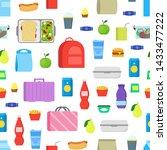 cartoon color school lunch food ... | Shutterstock .eps vector #1433477222