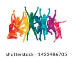 colorful happy group people... | Shutterstock .eps vector #1433486705
