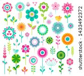 set of flat spring flower icons ... | Shutterstock .eps vector #1433492372