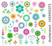 set of flat spring flower icons ... | Shutterstock .eps vector #1433492372