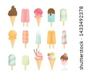 ice cream cone and bar. pastel... | Shutterstock .eps vector #1433492378