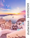 Small photo of Amazing evening view of Santorini island. Picturesque spring sunset on the famous Greek resort Fira, Greece, Europe. Traveling concept background. Artistic style post processed photo. Summer vacation