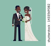 cheerful african newlyweds... | Shutterstock .eps vector #1433569382
