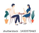 cute couple sitting at table ... | Shutterstock .eps vector #1433570465