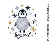vector poster with cute penguin ... | Shutterstock .eps vector #1433580572