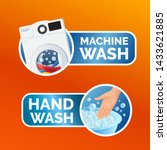 washing clothes sticker set ... | Shutterstock .eps vector #1433621885