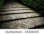 Old Stone Staircase In A Park...