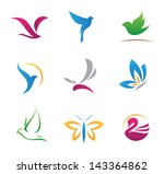 Stock vector bird nature flying rhythm mechanics symbols logo and icons 143364862