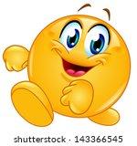 happy emoticon walking | Shutterstock .eps vector #143366545