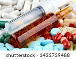 syringe  brown ampoule and many ... | Shutterstock . vector #1433739488