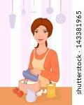 vector illustration of a girl... | Shutterstock .eps vector #143381965