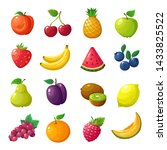 cartoon fruits and berries.... | Shutterstock . vector #1433825522