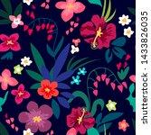 bright summer garden. stylized... | Shutterstock .eps vector #1433826035