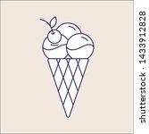 outline ice cream icon isolated....