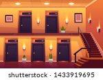 rooms in hotel corridor with... | Shutterstock .eps vector #1433919695