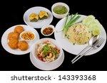 Thai Food Menu Set On The Blac...