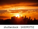 sun rising over los angeles... | Shutterstock . vector #143393752