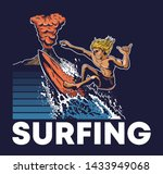 one man extreme surfer riding... | Shutterstock .eps vector #1433949068