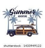 old vintage car for summer... | Shutterstock .eps vector #1433949122