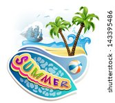 summer beach with palm trees | Shutterstock .eps vector #143395486
