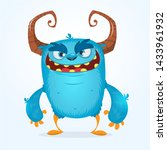 Stock photo cute furry blue monster bigfoot or troll character mascot 1433961932