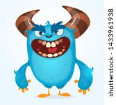 Stock photo cute furry blue monster bigfoot or troll character mascot 1433961938