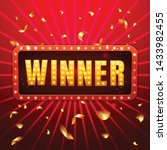 winner red retro banner with... | Shutterstock .eps vector #1433982455
