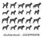Black Dog Breeds Silhouettes...