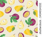 watercolor fruit pattern with... | Shutterstock .eps vector #1434014132