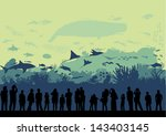 underwater world aquarium ... | Shutterstock .eps vector #143403145