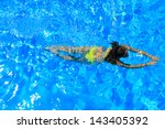 Woman With Swimsuit Swimming O...