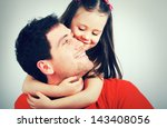 portrait of a happy father and... | Shutterstock . vector #143408056
