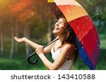 Laughing Woman With Umbrella...