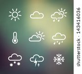 weather vector icons on blurred ...