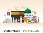 eid adha mubarak with tiny... | Shutterstock .eps vector #1434163622