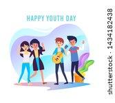 happy youth day cartoon vector... | Shutterstock .eps vector #1434182438