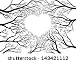 trees branches forming shape of ... | Shutterstock .eps vector #143421112
