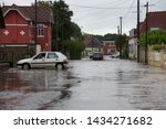 Small photo of Auchy-les-Hesdin, Hauts-de-France/France-June 4 2019: flash flooding following a torrential downpour from a passing storm