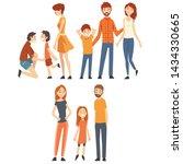 happy family with children set  ... | Shutterstock .eps vector #1434330665