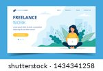 freelance work page template.... | Shutterstock . vector #1434341258