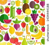 fruits and vegetables... | Shutterstock . vector #1434444188